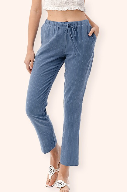 Striped Elastic Waist Pants - orangeshine.com