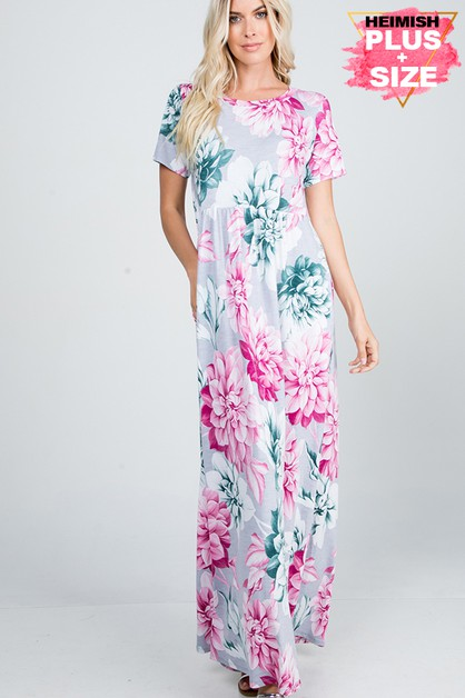PLUS FLORAL MAXI DRESS WITH RUFFLED - orangeshine.com