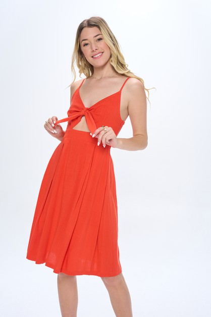 Tie Front V-Neck Linen Dress - orangeshine.com