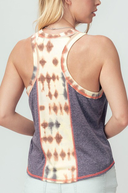 TIE DYE COLOR BLOCK TOP - orangeshine.com
