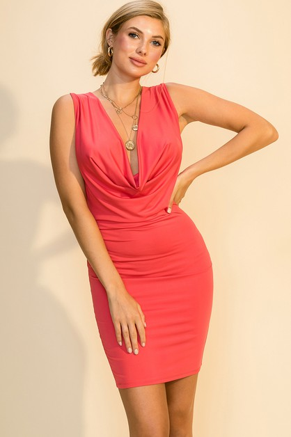 DRAPE FRONT BODYCON DRESS - orangeshine.com
