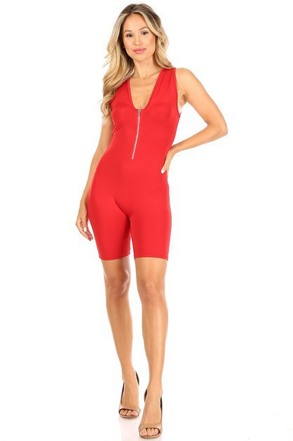 Zipper Sleeveless Short Jumpsuit - orangeshine.com