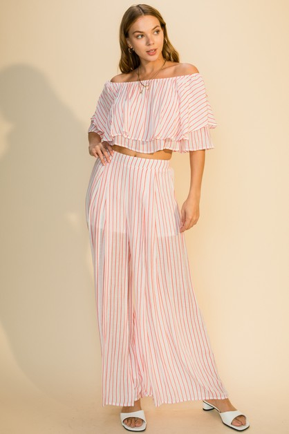 OFF SHOULDER TOP WIDE LEG PANTS SET - orangeshine.com
