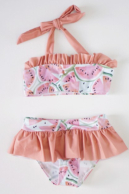 Coral watermelon ruffle swim suit - orangeshine.com