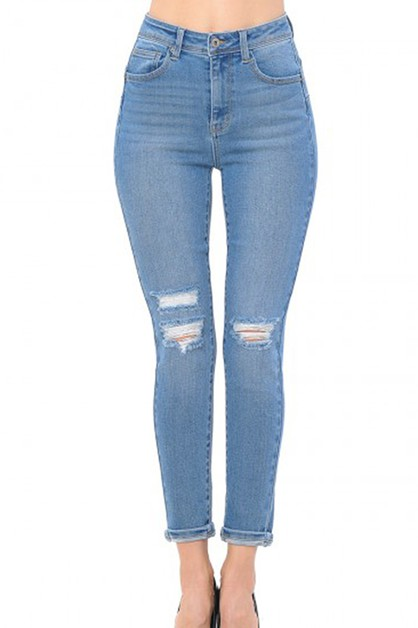 Ripped Skinny Jeans High Waist - orangeshine.com