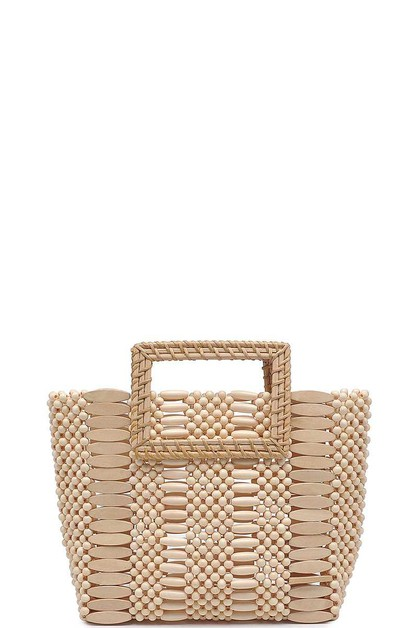 FASHION WODDEN BEADS MINI TOTE BAG - orangeshine.com