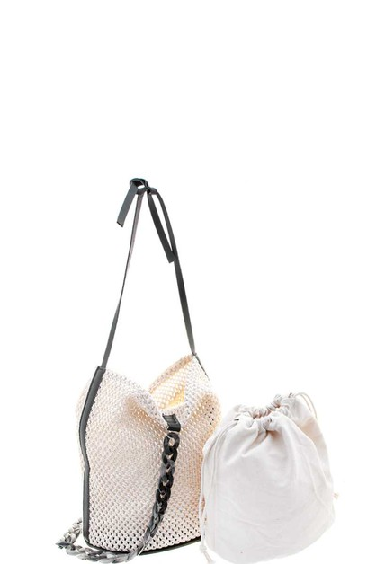 2IN1 VENTED STRAW CROSSBODY HOBO SET - orangeshine.com