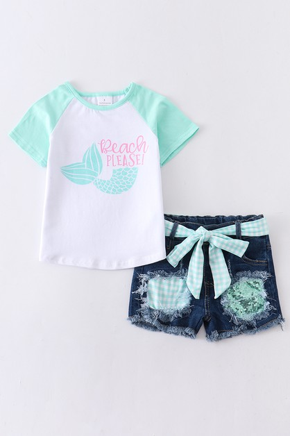 Mermaid denim shorts set - orangeshine.com