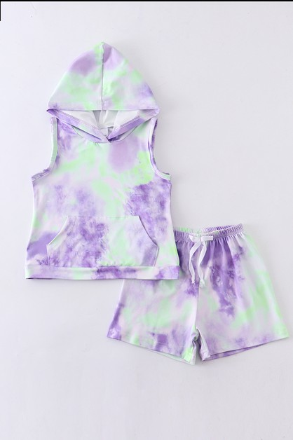 Tie dye green purple hoodie set - orangeshine.com