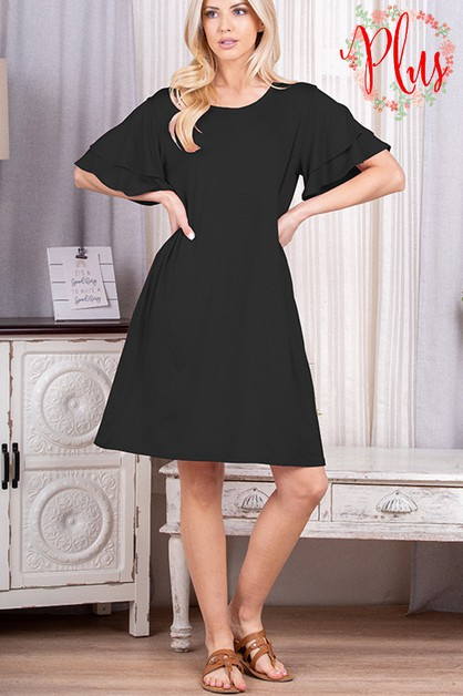 PLUS RUFFELD SLEEVE SOLID DRESS WITH - orangeshine.com
