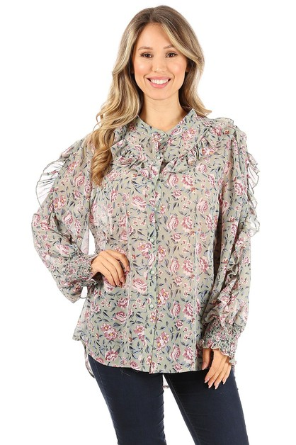 Floral print long sleeve - orangeshine.com