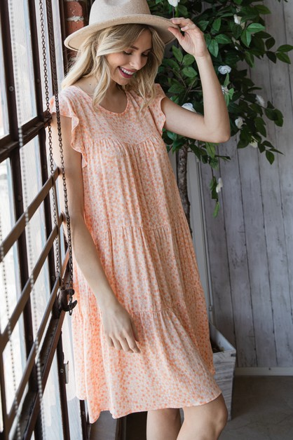 Woven Rayon Tiered Dress - orangeshine.com