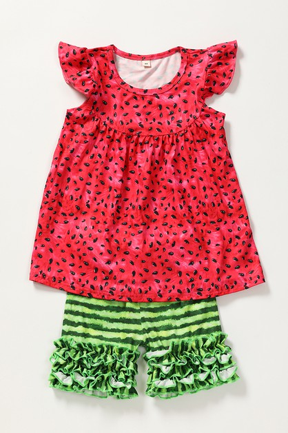 Watermelon rufle shorts set - orangeshine.com