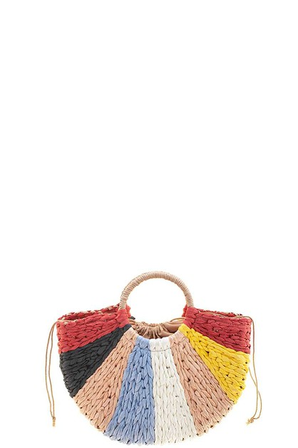 MULTI COLOR STRAW DESIGN TOTE BAG - orangeshine.com