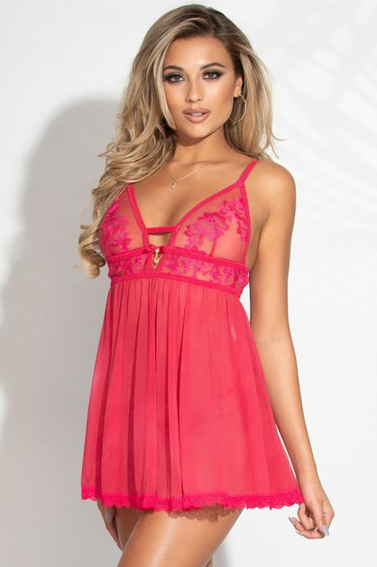 Two piece embroidered babydoll set - orangeshine.com