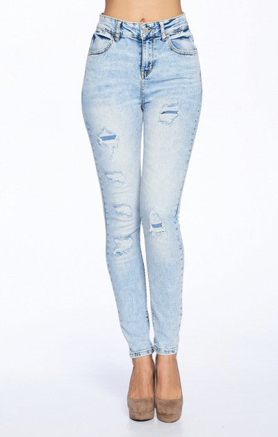Skinny Jeans ripped Washed - orangeshine.com