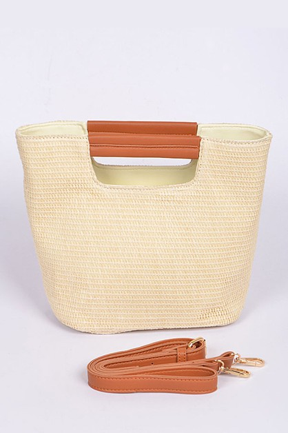 Top Handle Convertible Straw Bag - orangeshine.com