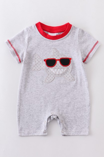 Shark applique baby romper - orangeshine.com