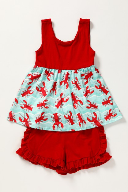 Lobster ruffle shorts set - orangeshine.com