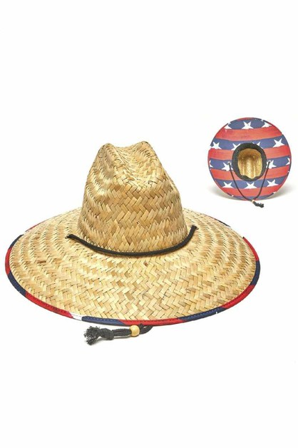 FASHION STRAW US FLAG PRINT SUNHAT - orangeshine.com