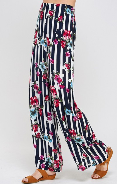 Floral Striped Wide Leg Pants - orangeshine.com