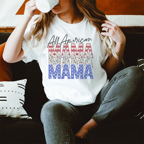 All American Mama Graphic T-Shirt - orangeshine.com