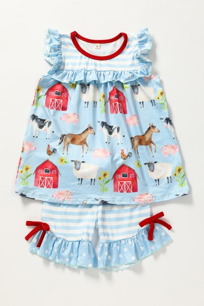Farm barn ruffle shorts set - orangeshine.com