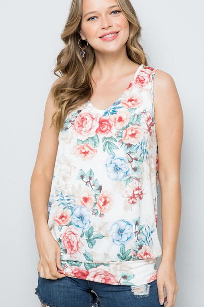 FLORAL PRINT SLEEVELESS BANDED TOP - orangeshine.com