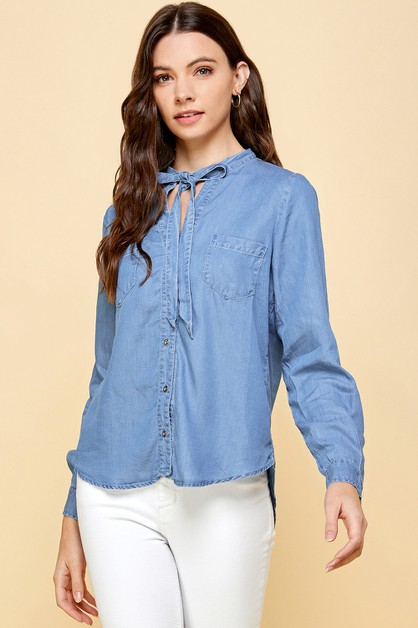 Denim Shirt with Tie - orangeshine.com