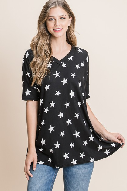 LOOSE FIT STAR PRINT TUNIC - orangeshine.com