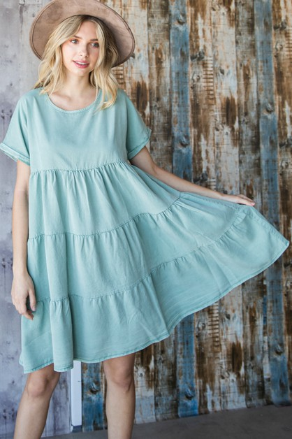 Tiered Chambray Mini Dress - orangeshine.com
