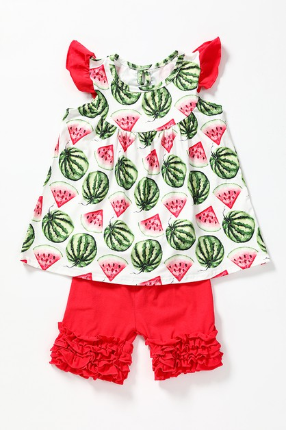 Watermelon ruffel shorts set - orangeshine.com