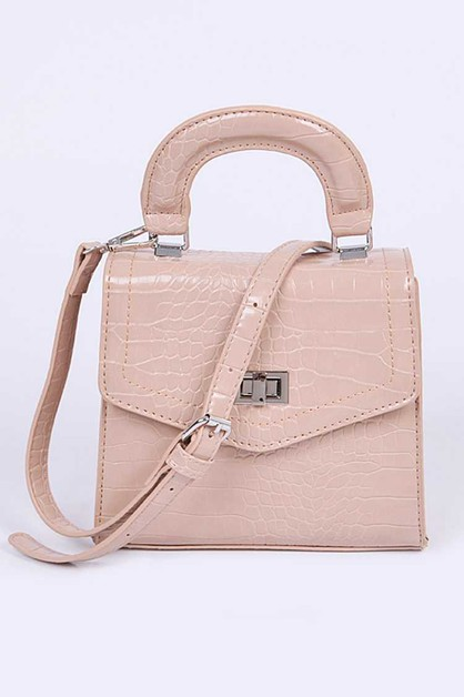 Croc Effect Turn Lock Swing Bag - orangeshine.com