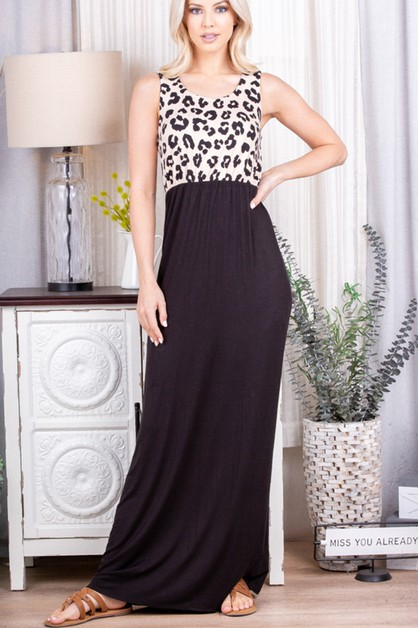 ANIMAL AND SOLID MAXI DRESS WITH SID - orangeshine.com