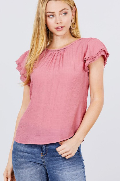 Round Neck Woven Blouse - orangeshine.com