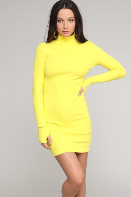 Half-neck long-sleeved dress - orangeshine.com