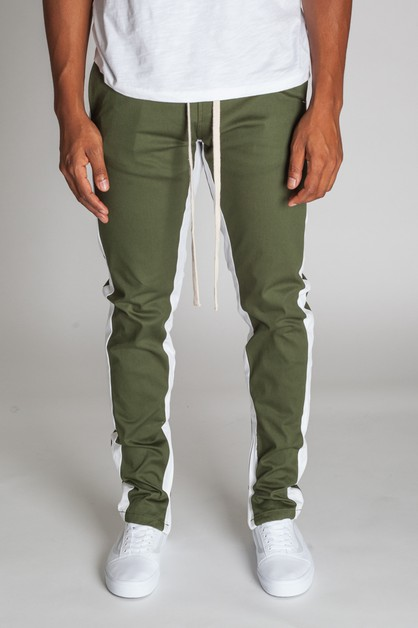 STRIPED ANKLE ZIP PANTS - orangeshine.com