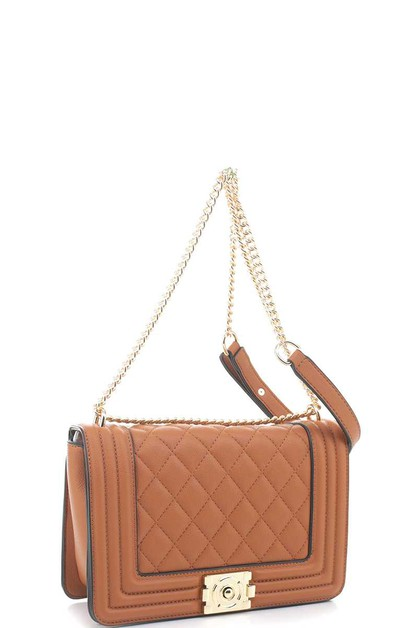QUILTED DESIGN CHAIN CROSSBODY BAG - orangeshine.com