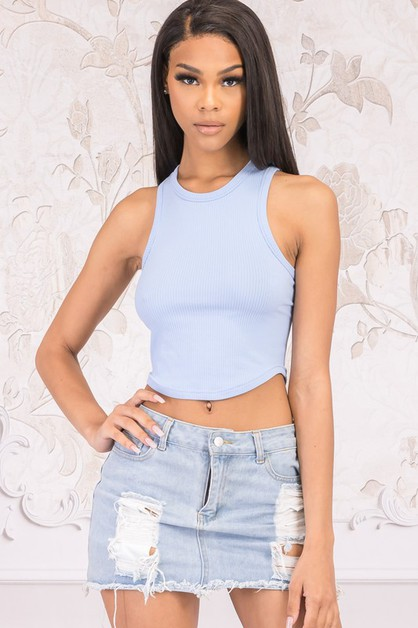 SLEEVELESS CROPPED TANK TOP - orangeshine.com