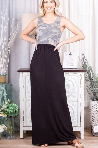 CAMO AND SOLID MAXI DRESS WITH SIDE - orangeshine.com