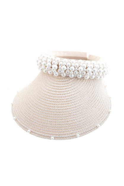FASHION PEARL STRAW PAPER VISOR HAT - orangeshine.com