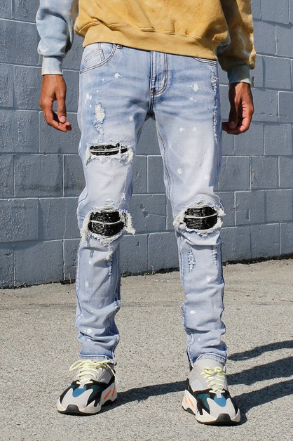 SMOCKING PATCHED JEANS - orangeshine.com