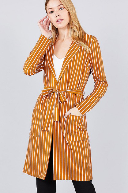 Striped Long Jacket - orangeshine.com