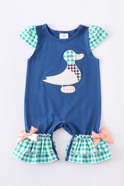 Duck applique baby romper - orangeshine.com