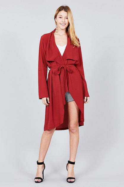 Solid Color Long Jacket - orangeshine.com