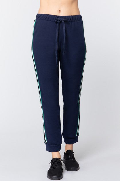 Stripe Jogger Pants with Waist Tie - orangeshine.com
