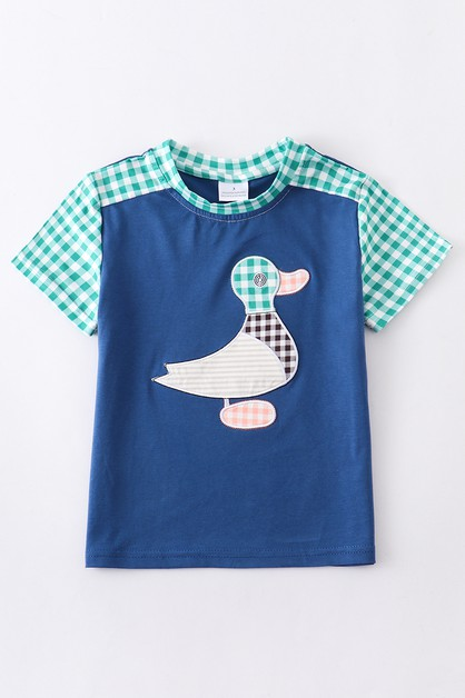 Duck applique plaid boy shirt - orangeshine.com