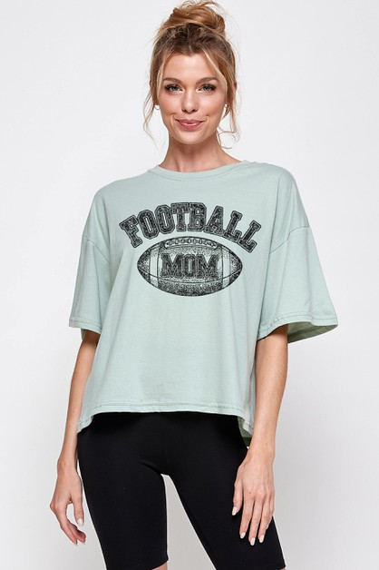 Football Mom Crop - orangeshine.com