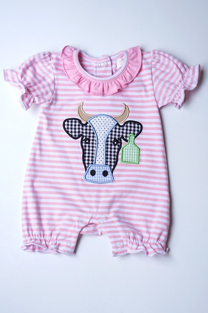 Pink cow applique baby romper - orangeshine.com