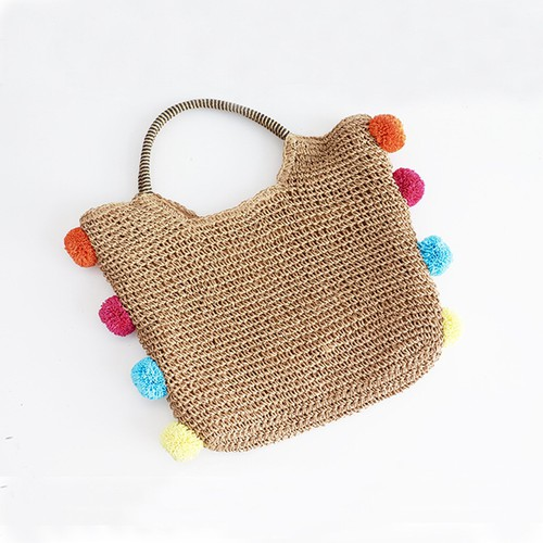 Fun straw bag  tote with pom poms - orangeshine.com